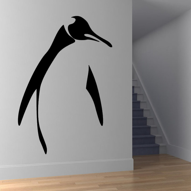 penguin outline wall decal simple design home decor removable animal