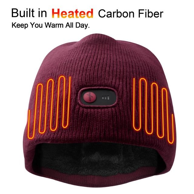 7.4V battery heated caps keep warm winter outdoor sports quick heating head warmer 3 levels control women Red 2018