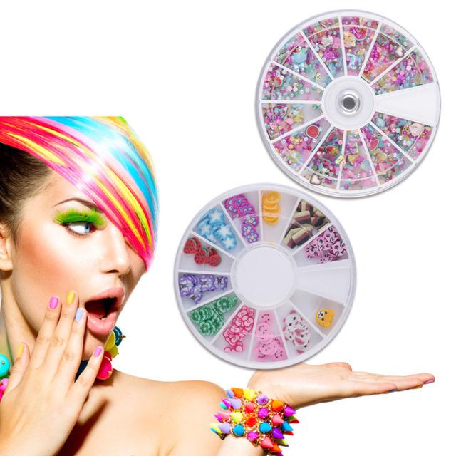 Venda quente 20 x 3D Nail Art Nail Art Pedrinhas Glitters Acrílico Dicas Decoração Manicure Rodas