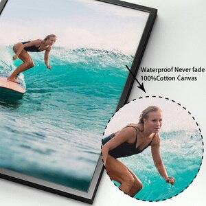 Image 4 - Surf fille pont mer plage paysage mur Art toile peinture nordique affiches et impressions photos murales pour salon décor