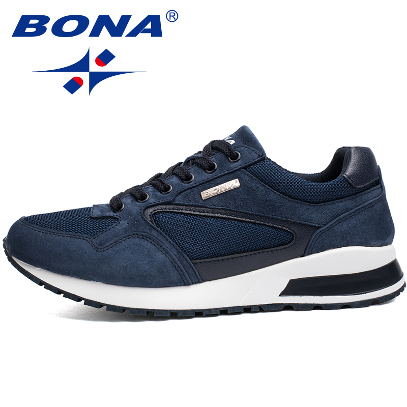BONA New Popular Style Men Running Shoes Suede Mesh Sport Shoes Outdoor Activitie Sneakers Comfortable Athletic Shoes For Men peak sport men outdoor bas basketball shoes medium cut breathable comfortable revolve tech sneakers athletic training boots