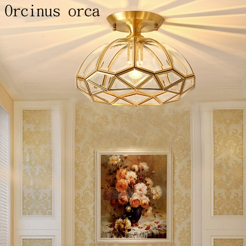 American style all copper small chandelier bedroom entrance ceiling lamp European style modern simplified ceiling lamp|Ceiling Lights| |  - title=