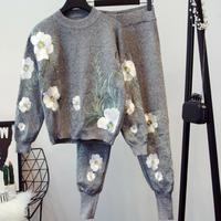 Winter 2 Piece Sets Women Embroidery Knitted Sweatshirt Pant Suits Elastic Waist Pant Pullovers Tracksuit