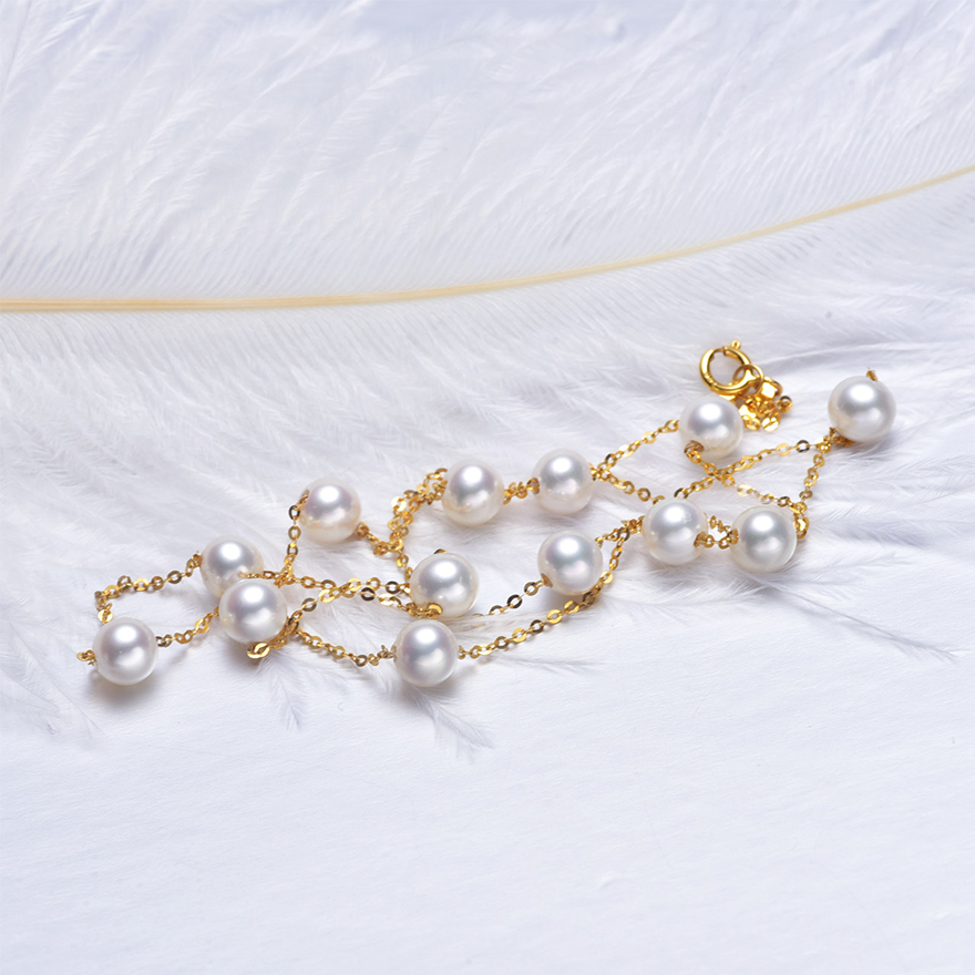 18k Gold 5 5mm White Pearl Necklace