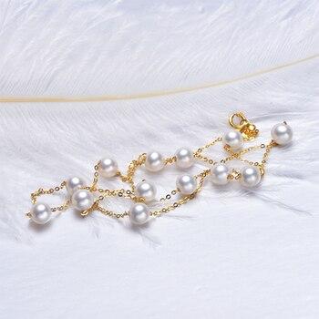 [يس] 18 كيلو الذهب 5-5.5 ملليمتر الأبيض لؤلؤة قلادة الصين لؤلؤ المياه العذبة قلادة المجوهرات 1