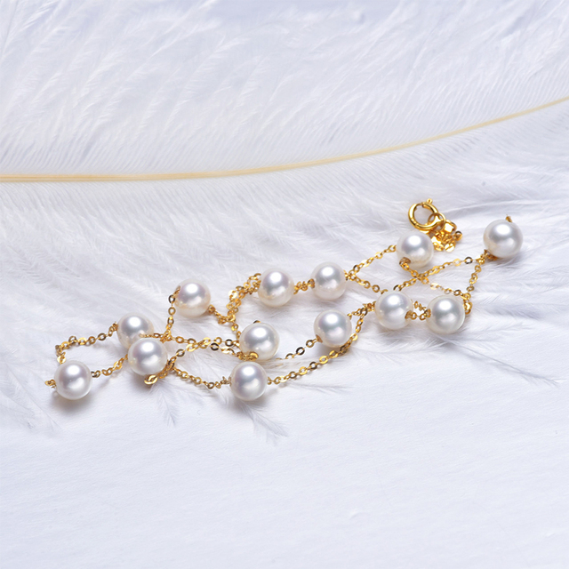 [YS] 18K Gold 5-5.5mm White Pearl Necklace China Freshwater Pearl Necklace Jewelry 2