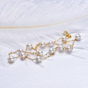 Image 2 - [YS] 18K Gold 5 5,5mm Weiße Perle Halskette China Süßwasser Perle Halskette Schmuck