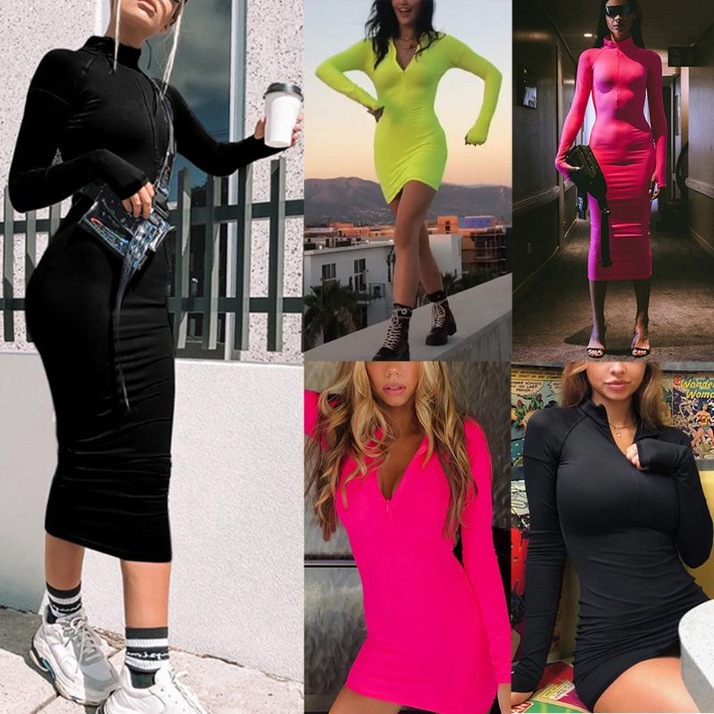 Women Sexy Turtleneck Long Sleeve Zipper Front Bodycon Dress Bright Fluorescent Solid Color Night Party Clubwear With Thumb Hole