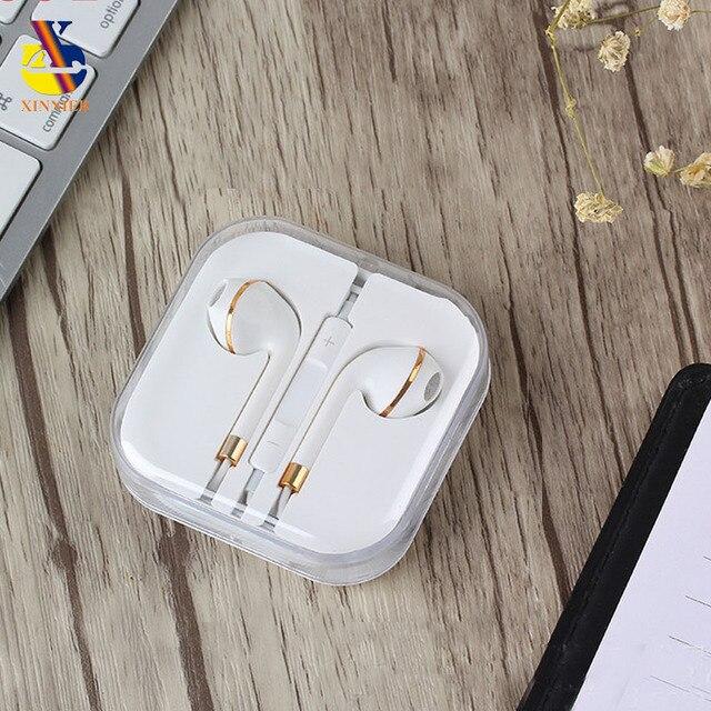 3,5mm en la oreja auriculares con cable Auriculares auriculares estéreo con caja para IPhone 4 s 5 5S 6 6 s 6 Plus para Ipad 2 3 4 Mini Mp3 Mp4