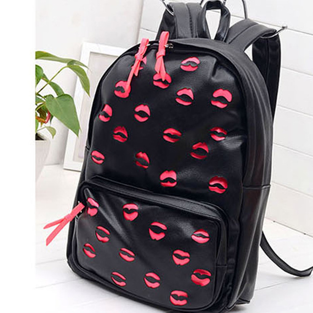 unisex backpack Neon color laser lip pattern Nylon Pu Leather ...