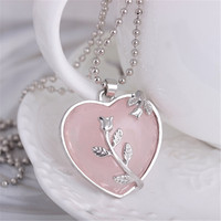 Mdiger Romantic Women Necklace Pendant Heart Design Necklace Girl Silver Statement Necklaces Lady Jewelry 3 PCS