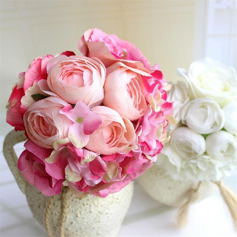 Újév forró 7 fej mesterséges hamis bazsarózsa virág otthon - Ünnepi és party kellékek