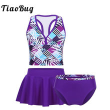 TiaoBug Kids Teens Purple Tankini Swimsuit Girls Swimwear Bathing Suit Plaid Crop Top with Bottoms Skirt Children Bikini Set(China)