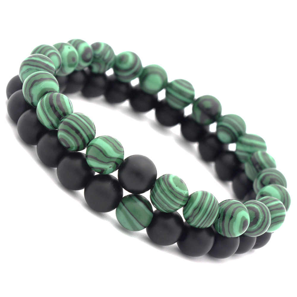 Europe and America 8mm matte black emery malachite bracelet, couple accessories (two pieces set)