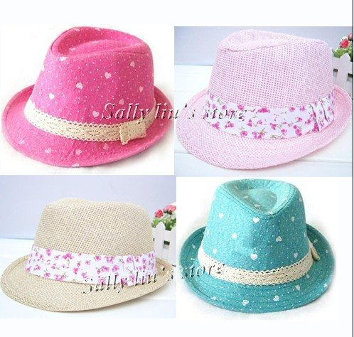 New Design Girls Fedora Hat Child Summer Topee Baby Bucket Hat Baby Cowboy Hat  Girls Sun Cap Dicers 10pcs lot Free Shipping 4f3ea87c1727