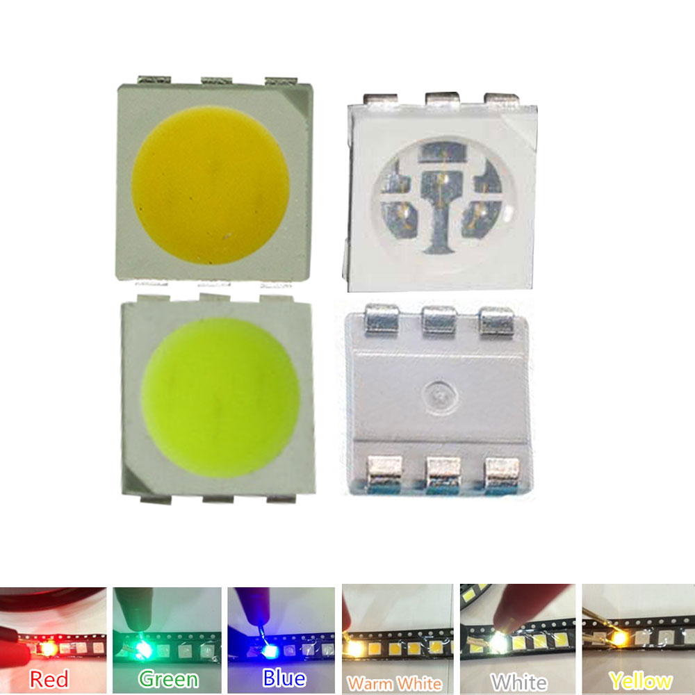 10 LED SMD 5050 PLCC6 BIANCO CALDO WARMWHITE