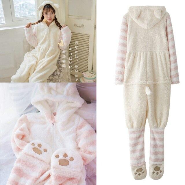 2017 novo conjunto mulheres pijama bonito cat pijamas com orelhas rabo Quente Flanela Bonito Dos Desenhos Animados Sleepwear Salão Sono Pijama das Mulheres 235