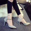 Free shipping Spring metal strap sexy pointed toe thin heels velvet high-heeled shoes