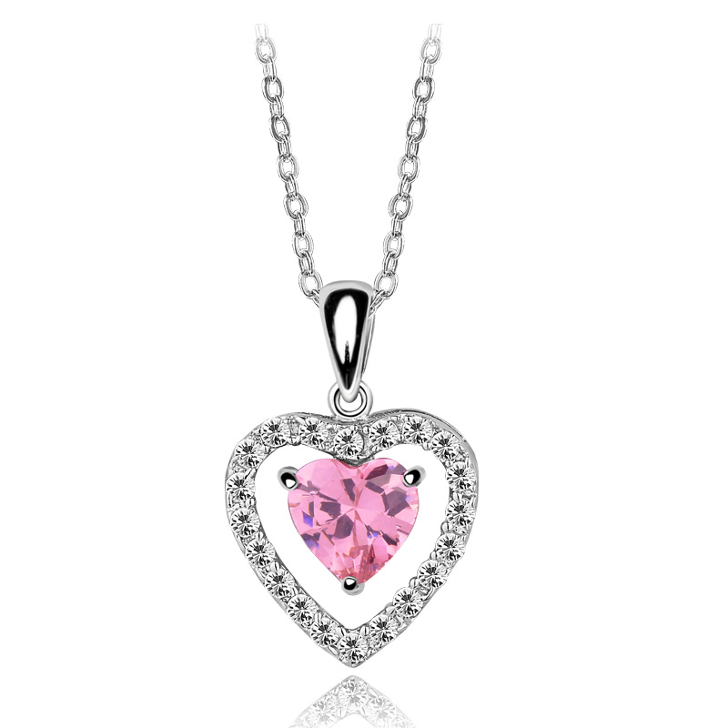 white gold color Necklaces&Pendant Cuter Pink Heart AAA CZ Crystal For Grils Birthday Party Gift (hy1e)