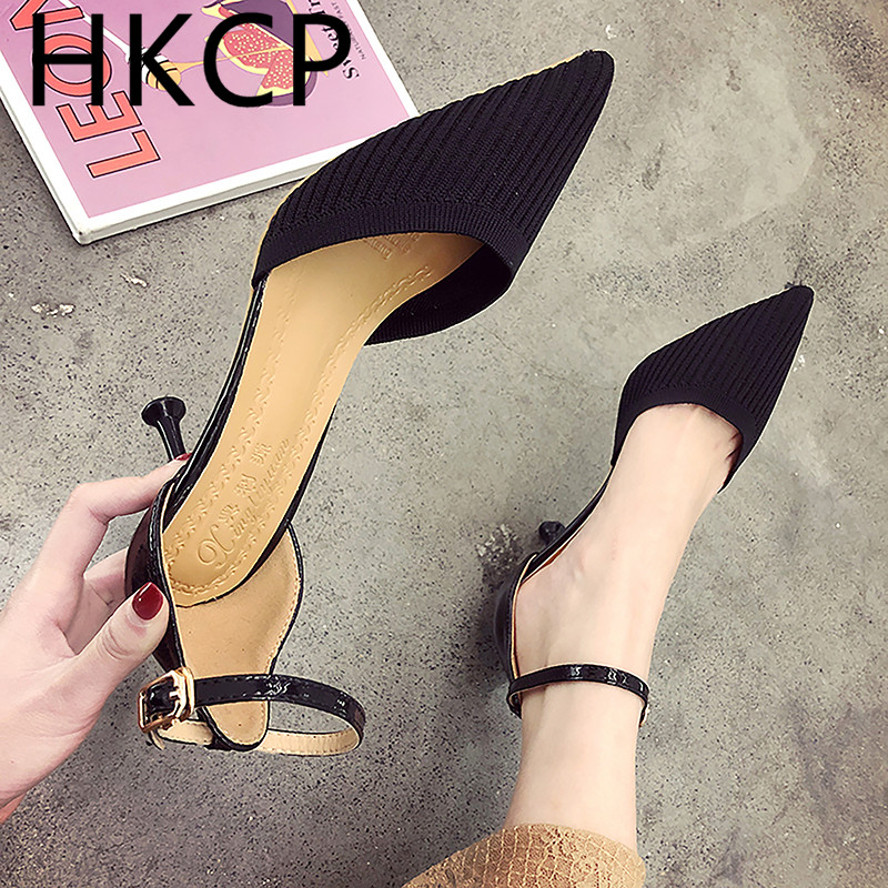 HKCP Teenage high heels for the 2019 summer new Korean edition go with the pointy buckle sandals fashion fairy single shoe C102 in Middle Heels from Shoes
