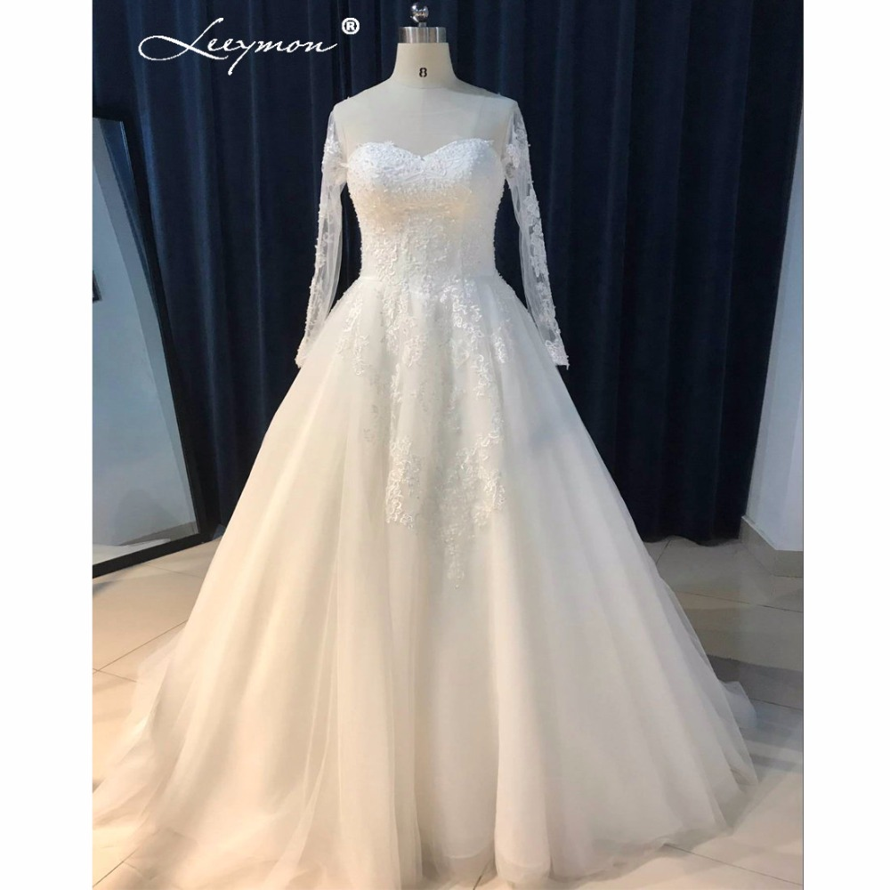 Simple Wedding Dresses With Sleeves: Leeymon Long Sleeves Lace Wedding Dress Plus Size Simple