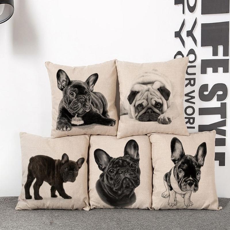 Cushion Cover Lovely Cute Pug Dog Pillowcases Cotton Linen