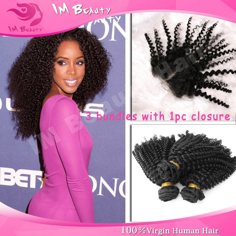 Cheap Mongolian Kinky Curly Weave Hair 3 Bundles With 1pc 4x4