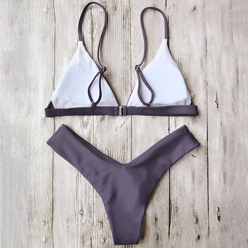cdff7587d8 ZAFUL2018 Woman Bikini Set High Cut Soft Pad Spaghetti Strap Thong Swimwear  Solid Brazilian Biquini Maillot De Bain Bath Suit-in Bikinis Set from  Sports ...