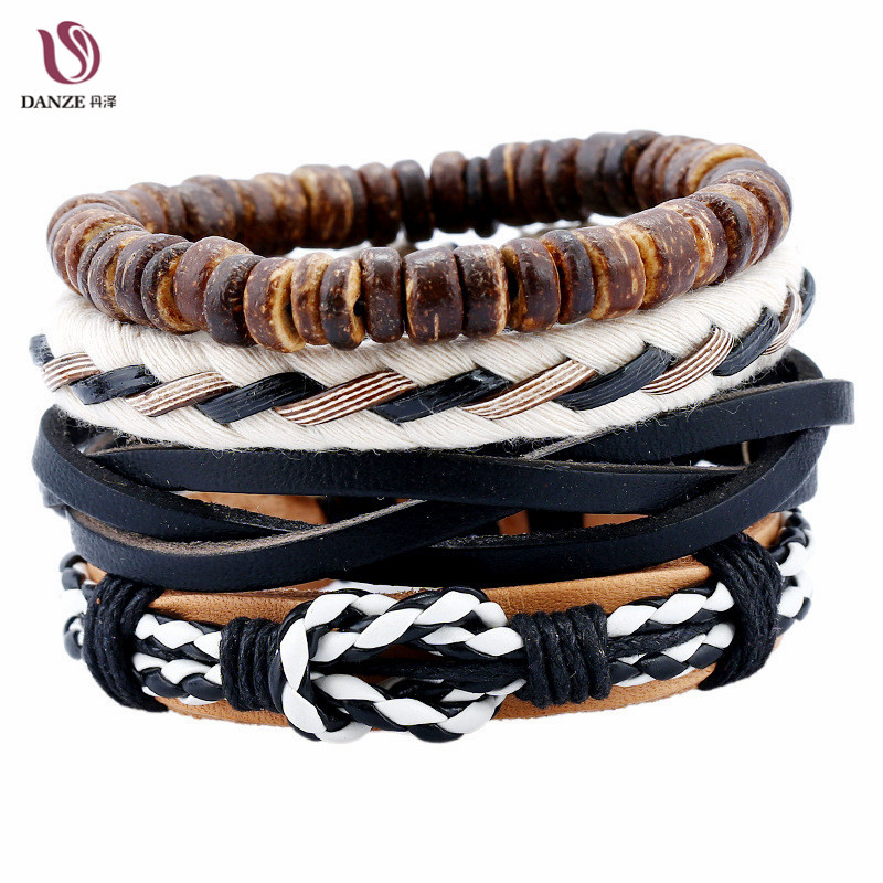 DANZE 4 Pcs/set Fashion Boho Leather Bracelet Sets Men Handmade Charm Bracelets & Bangles Brown Chakra Gift Travel Jewelry