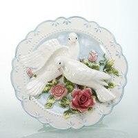 Pigeon porzellan dekorative wandplatten für hängen keramik erleichterung handbemalte platte hochzeit dekoration geschenke kunstgewerbe