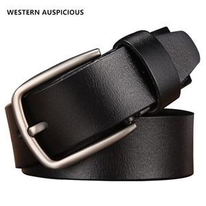 Image 1 - WESTERN AUSPICIOUS Genuine Leather Belt Luxury Designer Belts Men Cowskin Fashion Strap Male Jeans for Man Cowboy Belt Famous