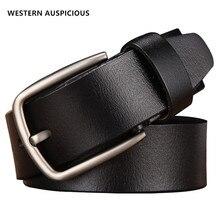 WESTERN ceinture en cuir véritable pour hommes, ceintures de luxe de styliste, à la mode, en cuir de vache, pour Jeans masculins, ceinture de Cowboy célèbre