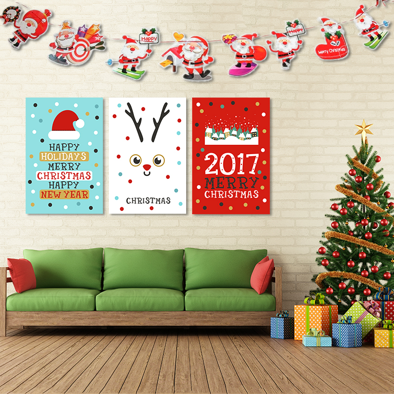 attractive Cute Christmas Canvas Paintings Part - 12: ARTGOW 2017 Merry Christmas Cute Cartoon Series Modern Wall Art Decorations  Printed Painting on Canvas for Living Room Unframed-in Painting u0026  Calligraphy ...
