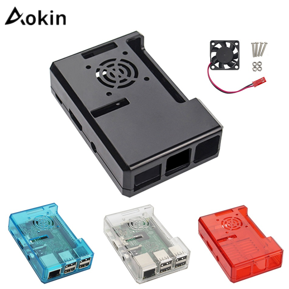 Aokin For Raspberry Pi Case Fan Transparent ABS Plastic Cases For Raspberry Pi 3/2 Model B B+ Case Fan