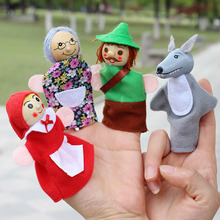 4pcs/Lot Kids Finger Puppets Doll Plush Toys Cute Little Red Riding Hood Wooden Headed Fairy Tale Story Telling Hand Puppets