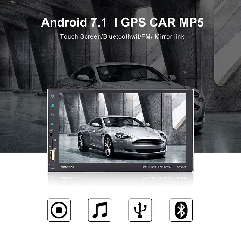 Car Radio autoradio Android 7.1 Universal 7'' touch screen GPS Navigation 2 Din MP5 Player Bluetooth WiFi Mirror Link car audio