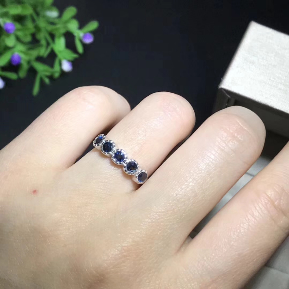 Natural blue sapphire gem Ring Natural gemstone ring 925 sterling silver trendy Elegant Row circle women girl gift party Jewelry