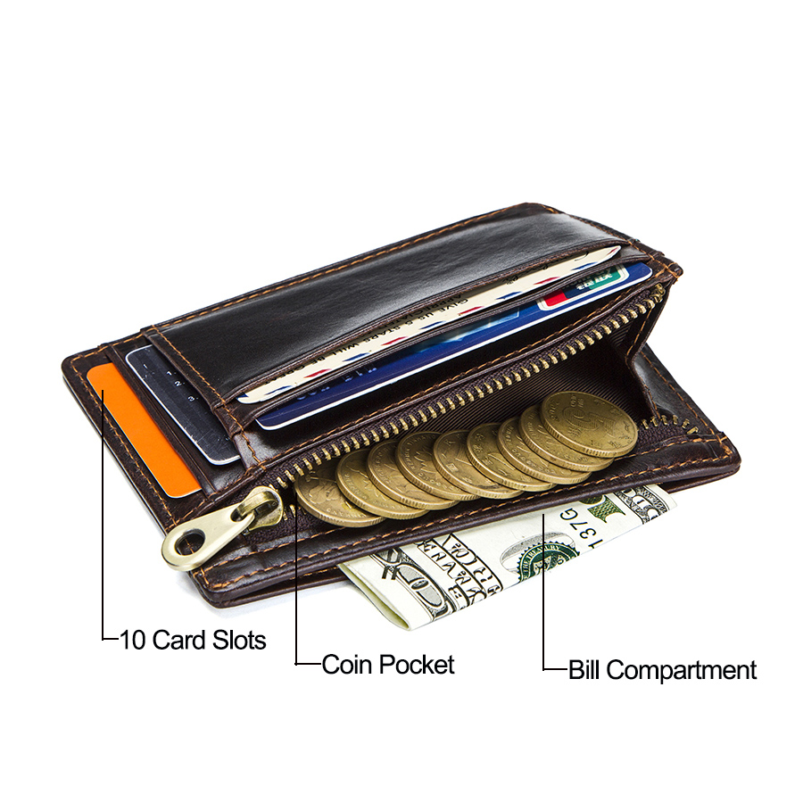 CONTACT'S crazy horse cowhide leather RFID men card wallet mini card holder with coin pocket men's small thin walet slim wallets 4