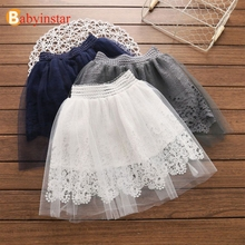 Babyinstar 2019 New Fashion Girls Skirts Solid Cotton Kids Party Tutu Tulle Skirt Girls Children's Clothing Girls Lace Skirt цены онлайн