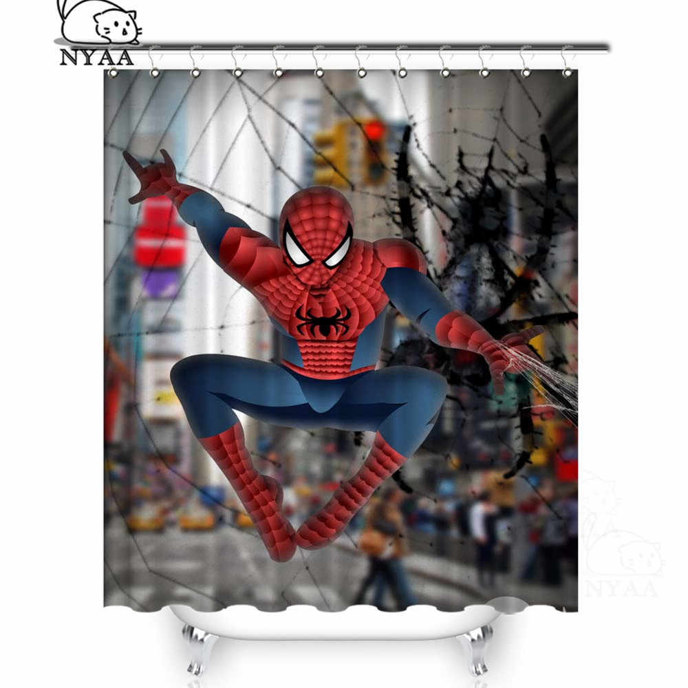 NYAA  Spiderman Miracle Superhero Shower Curtains Polyester Fabric Curtains For Home Decor