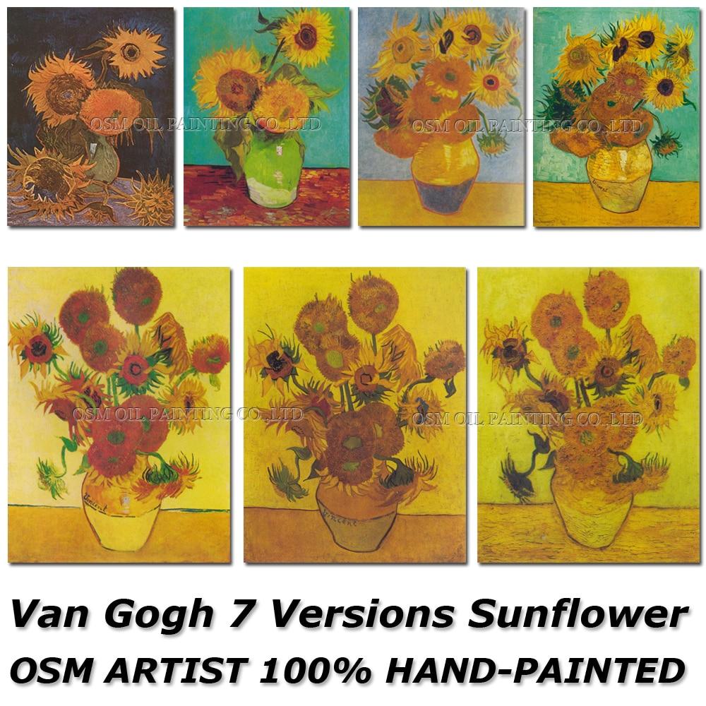 Umělec OSM Reprodukce Van Gogh Slunečnice Olejomalba Ručně vyráběná vysoce kvalitní zátiší s Vafle se slunečnicemi