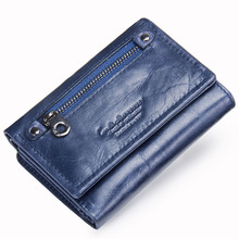 Купить с кэшбэком Contact's Women Wallets Clutch Coin Purse Woman Leather Genuine Leather Short Wallet Zipper Card Holder Money Bag For Girls