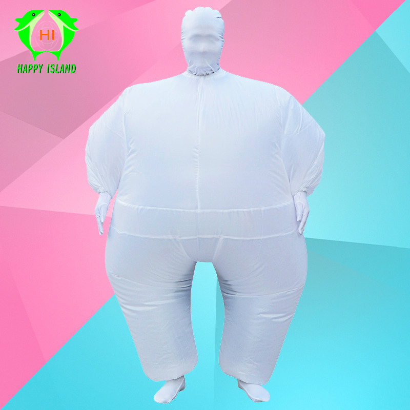 Halloween Costume Inflatable Full Body Suit Inflatable Costume Chub Blow Up Jumpsuit Costume Green Sumo Masked Man Fat Adult