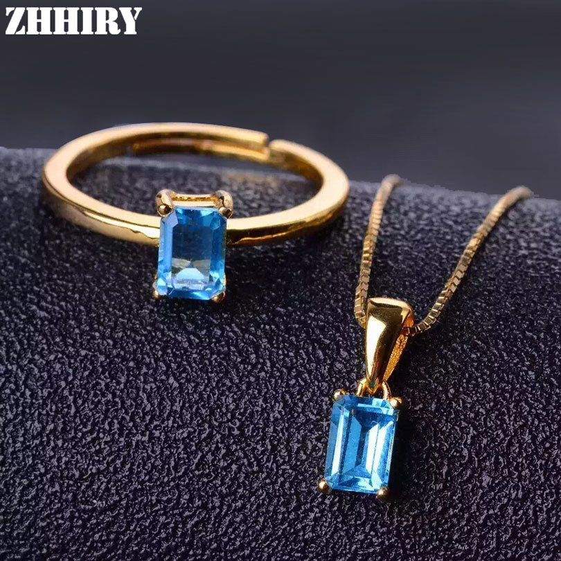 ZHHIRY Women Natural Blue Topaz Stone Jewelry Set Pendant Ring Chain Solid 925 Sterling Silver Genuine