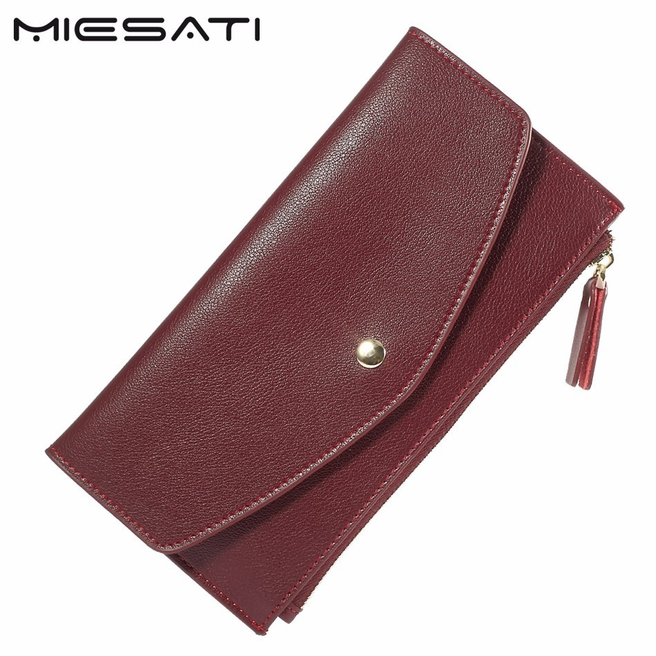 MIESATI Slim Wallet Purse Woman Zipper Genuine Leather Long Wallets Coin Pocket Female Purses Money Clip Portefeuille Women simline fashion genuine leather real cowhide women lady short slim wallet wallets purse card holder zipper coin pocket ladies