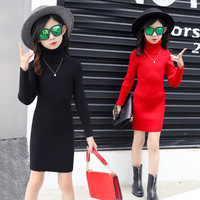 Girls clothing new winter sweater fashion girls long turtleneck sweater all-match temperament