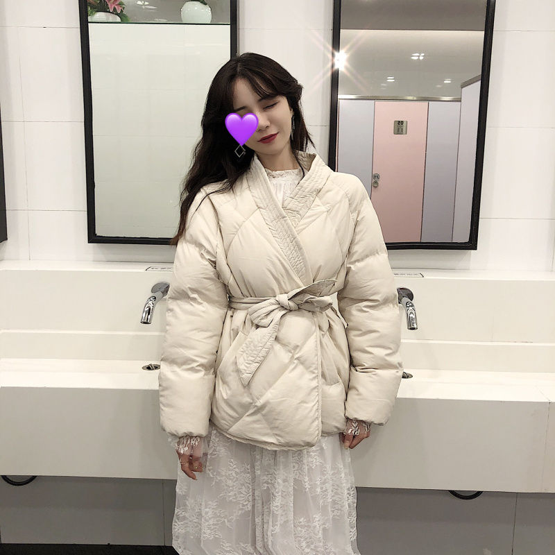 Hzirip 2019 New Design Women Winter Solid Sashes Coat Female Thick High Quality Students Outwear Sweet