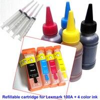 Boş Doldurulabilir mürekkep kartuşu için ARC ile Lexmark 100 100A 100XL çip için lexmark S305 S308 S402 S405 S408 S502 + 400 ml boya mürekkep