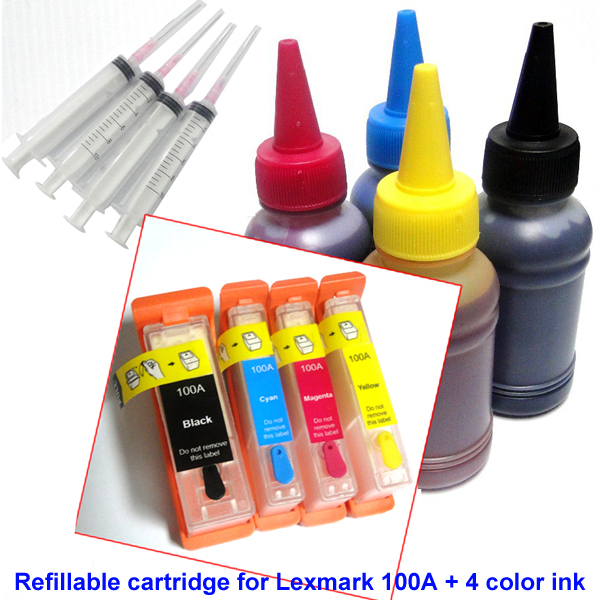 YOTAT 400ml dye ink + Refillable ink cartridge for Lexmark 100 100A 100XL for lexmark S305 S308 S402 S405 S408 S502 1pc set ink cartridge compatible lexmark lx34 18c0034 bk for lexmark printers p900 p4300 p6200 p6300x3300 x5200 x7100 x7300