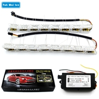2X Car Flexible Crytal Water Bar Lamp With Telescopic Steering LED DRL Daytime Running Lights Headlight